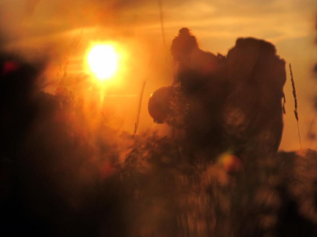 Séta haza a naplementében